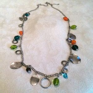 Silver Tone Multi Colored Beaded Charm Necklace